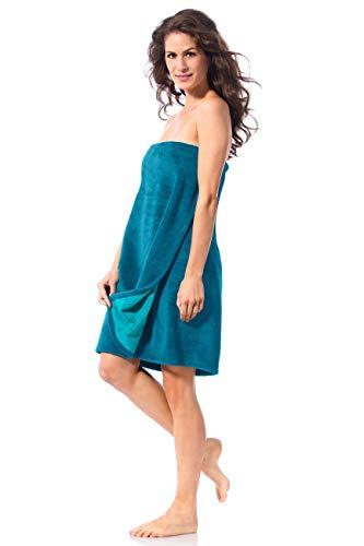 Morgenstern Saunakilt Damen Saunatuch 70 cm kurz Knielang Petrol Saunakleid Damenkilt mit Gummizug zum Umbinden Blaugrün Baumwolle Mikrofaser Bambus