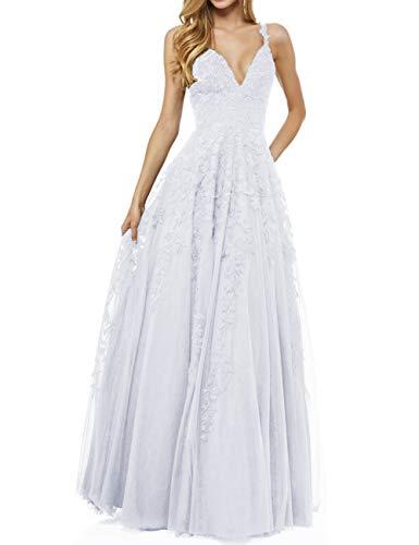 LuckyShe Damen Sexy V-Ausschnitt Abendkleider Ballkleid Elegant für Hochzeit Lang 2018 Weiß Größe 32