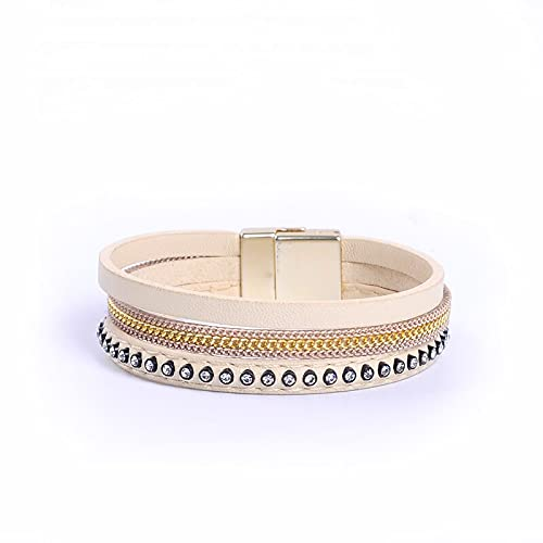 Beige PU Leather Bracelet with Rhinestone Beads Magnetic Clasp Women wrap bijoux Bracelet