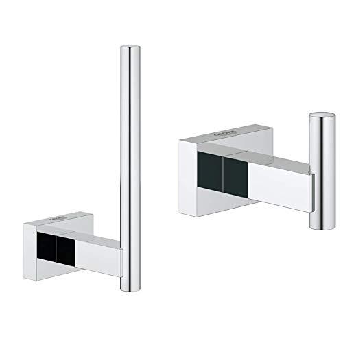 Grohe 40623001 Essence Portarrollos de Pared, Acabado Cromado + Essentials Cube Colgador de Albornoz, fijación empotrada (Ref. 40511001)