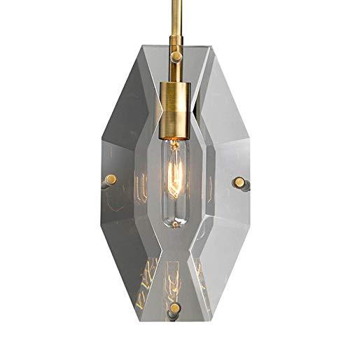 Bupin Bauernhaus Kristall Kronleuchter Beleuchtung,1-flammig Modern Mini Kücheninsel Pendelleuchte Rauchglas Hängelampe Für Schlafzimmer Dining Wohnzimmerlampe-Rauchgrau 1 Licht