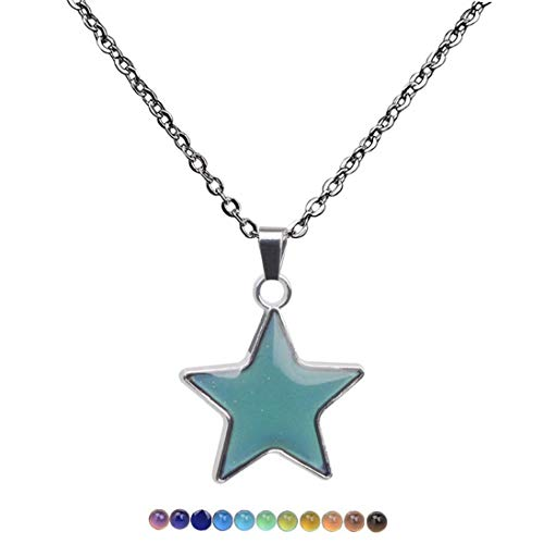 BYFRI Regalo Colgante mágico 1pc Colgante de la Estrella del Estado de ánimo Color Cambio de Temperatura Cadena de Acoplamiento del Collar del Acero Inoxidable para niñas
