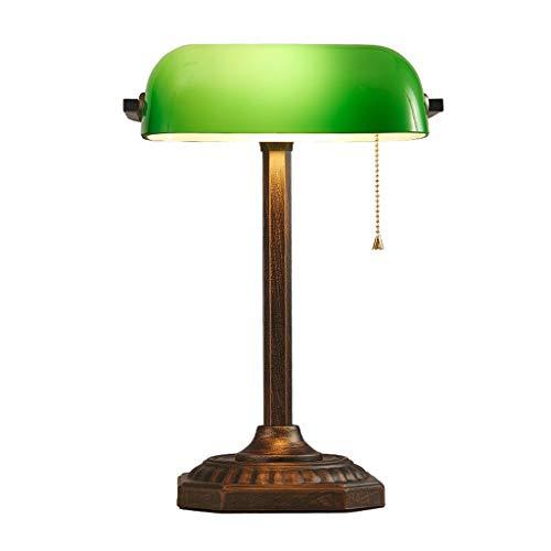Lampe banquier vert abat-jour rétro traditionnel lampes de table tirer la chaîne bureau étude conceptions simples oeil soins lecture