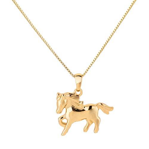 FIVE-D Set Kette Kinder Anhänger kleines Pferd Pony 925 Silber im Schmucketui Kettenlänge: 36 cm (Silber-vergoldet)
