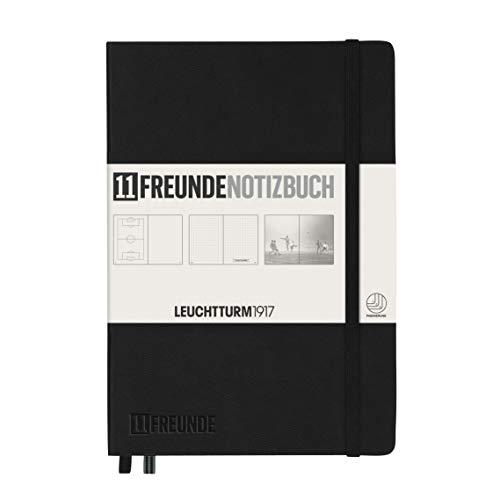 LEUCHTTURM1917 359579 Notizbuch Medium (A5), Hardcover, 253 nummer. Seiten, schwarz, 11FREUNDE Blanko u. Dotted