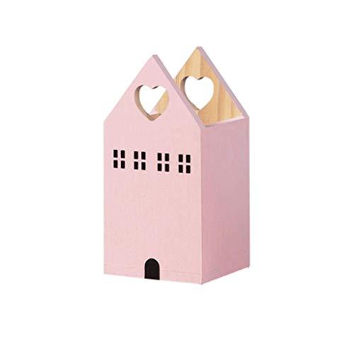 QWEA Soporte para bolígrafo de escritorio de madera, caja pequeña de almacenamiento para lápices con forma de casa, bonita decoración de mesa, soporte para bolígrafo familiar de gran volumen (