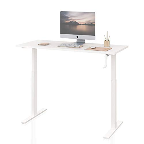 DEVAISE Standing Desk - 55' Adjustable Sit to Stand Up Desk with Crank Handle, White