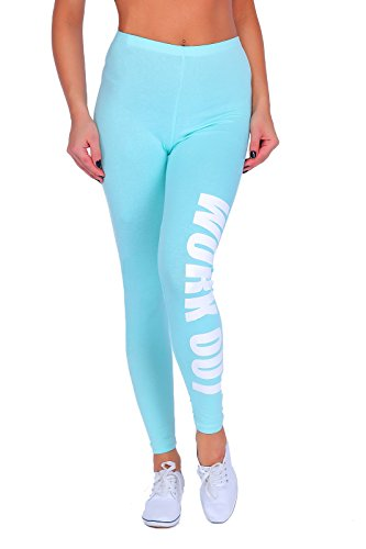 "FUTURO FASHION - Sportleggings - mit Print ""Work Out"" - lang - Baumwolle - Mintgrün - 42"