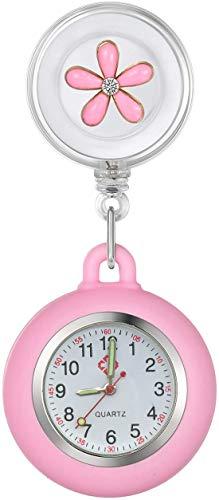 Krankenschwester Uhr Set Blume Dehnbare Pink,Krankenschwesteruhr FOB-Uhr Silikon Hülle Pulsuhr Pflegeuhr Tunika Brosche Taschenuhr Ansteckuhr Analog Stretch verstellbar Länge Uhren Revers (Pink)