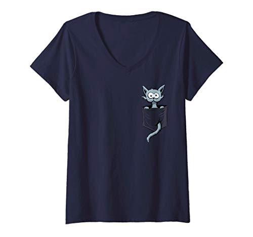 Damen Lustige Verrückte Comic Katze in Deiner Tasche T-Shirt mit V-Ausschnitt