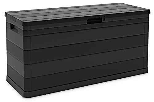 Toomax 280L Indoor & Outdoor Plastic Garden Storage Box Bench Shed Chest 117x56x45cm (Black)