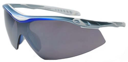 JiMarti TR22 Sport Wrap TR90 Sunglasses UV400 Unbreakable Protection for Cycling, Ski or Golf (Sky Blue & Smoke)