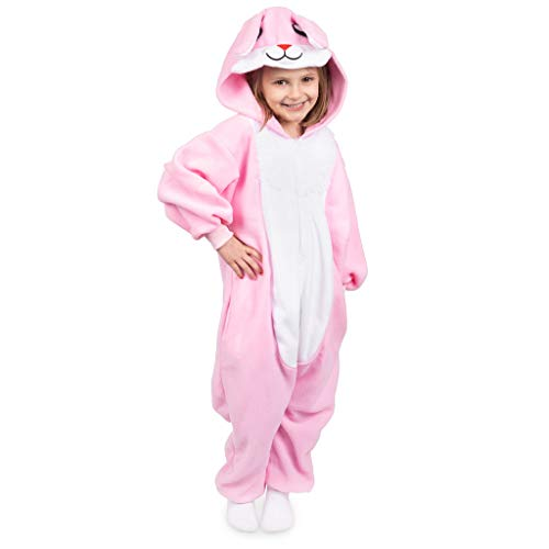 Emolly Fashion Kids Animal Bunny Pajama Onesie - Soft and Comfortable with Pockets (4, Bunny) Pink/White