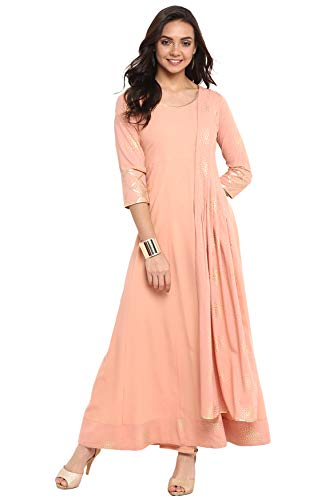 Janasya Indian Tunic Tops Crepe Kurti for Women (JNE3311-KR-XL) Pink