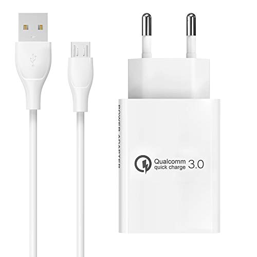 BERLS18WQuickCharge3.0 Caricabatterie+CavoMicroUSB perSamsungGalaxyS6 S7 S6EDGE A5A7(2015),Huawei, Wiko,ASUS,LG,HTC, Nexus,Sony,SmartphoneAndroid 5V 3A Caricatore(Bianco)