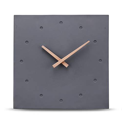 Cander Berlin MNU 6430 Designer Wanduhr aus Beton Betonuhr eckig lautlos geräuschlos ohne Ticken 30,5 cm