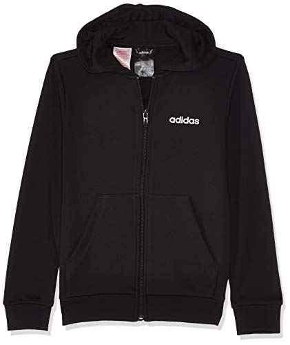 Adidas Youth Boys Essentials Linear Full Zip Hoodie, Track Tops Bambino, Black/White, 7-8A