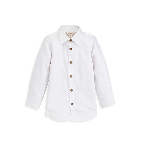 Burt's Bees Baby Baby Boy's Toddler T-Shirt, Long Sleeve V-Neck and Crewneck Tees, 100% Organic Cotton, Cloud White Button-Up, 3T