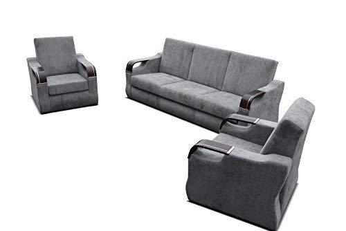 mb-moebel Polstergarnitur Sofa 3er & 2X Sessel 3-1-1 Möbel Set mit Bettkasten und Schlaffunktion Grau Clint 311