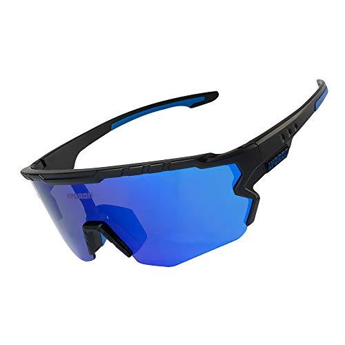 Fahrradbrille Sportbrille Radsportbrille, Half-Frame-Fahrbrille mit 3 Wechselgläsern, UV-Schutz-Reitbrille Für Skifahren/Laufen/Radfahren/Golf (Blue Lens & Black Frame)