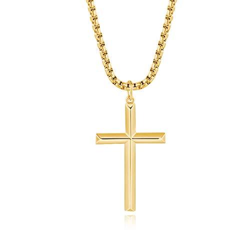 FANCIME 925 Sterling Silber Gold Vergoldet Kreuz Anhänger mit Edelstahl Kette für Herren Jungs Kinder - Kettenlänge: 56 cm