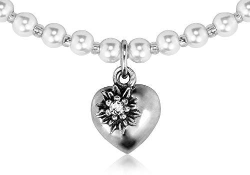 LUISIA® Kinder Perlenkette Luna mit Herz, Edelweiß und Kristallen von Swarovski® - Weiß - Mädchen Schmuck Halskette zu Dirndl und Trachten