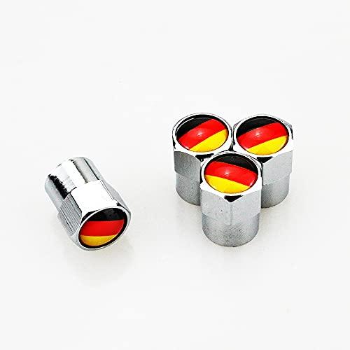 Tapas de Válvulas de Neumático 4 X Metal Car Wheel Tire Tire Taps Cubiertas Cubiertas de la bandera alemana Logo Accesorios Auto Accesorios compatibles con A1 A3 A4 A5 A6 A7 Q3 Q5 Q7 RS3 RS5 Inteligen