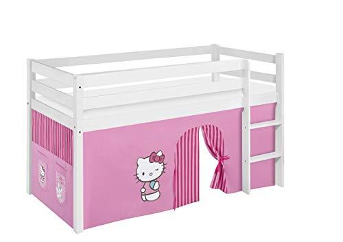 Lilokids Lit Mezzanine JELLE Hello Kitty Rose -lit d'enfant Blanc - avec Rideau - lit 90x200 cm