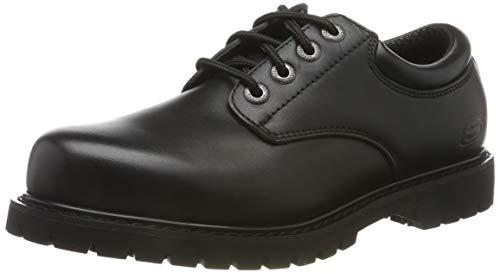 Skechers Cottonwood-Elks, Zapatos de Cordones Oxford Hombre, Negro (BLK Black Leather), 43 EU