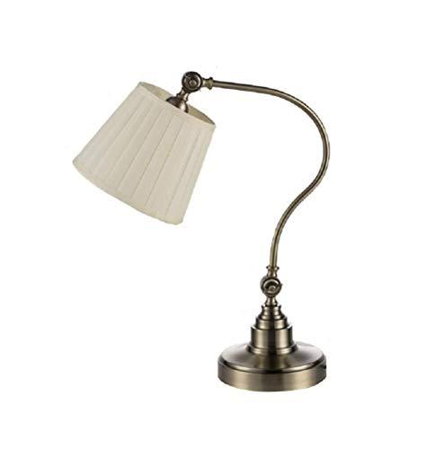 Lámpara de mesa Lámpara de mesa de lámpara, lámpara de escritorio de metal for la mesa de noche Switch Switch Pantalla de tela for lámpara incandescente, lámpara LED for estudio de estudio y dormitori