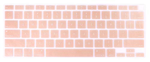 Se7enline New MacBook Air 2021/2020 Keyboard Cover 13 inch Soft Silicone Skin Protector Compatible with MacBook Air 13-Inch Touch ID with Retina Display M1 A2337/A2179 US Layout, Rose Gold