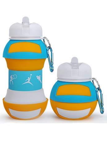 Vani Saveurs Kiddoun - Cantimplora deportiva para niños, plegable, fácil de transportar, sin BPA, fútbol, baloncesto, voleibol, tenis, fantasía, voleiballl