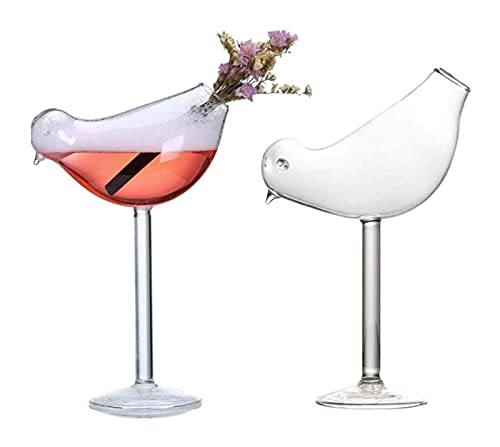 GXYtable cloth Copa de cóctel, diseño de pájaros Creativo Coctel de Vidrio Copa de Cristal, Vidrio cristalino, Conjunto de 2, 200 ml Decantador de Whisky