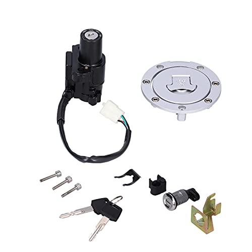 Aramox - Cerradura de tapa de combustible, juego de cerradura de motocicleta para interruptor, cubierta de combustible, asiento de encendido con llave general, aleación de aluminio y ajuste ABS para Y