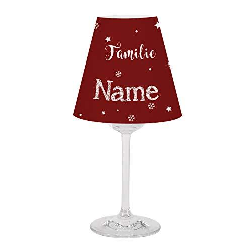 Herz & Heim® Persönliche Tischdekorationzu Weihnachten - Weinglas und Lampenschirm mit Aufdruck