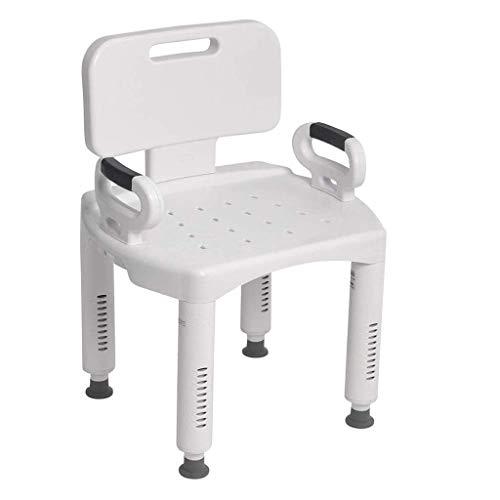 WEIZI Silla de Ducha con Respaldo Asiento de baño Universal con Brazos para discapacitados discapacitados Personas Mayores