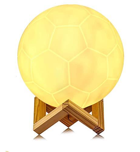 16cm 3D LED Fußball Lampe mit Fernbedienung 16 Lichtfarben RGB Fußball Licht Tragbares Nachtlicht mit Batterie Dimmbar