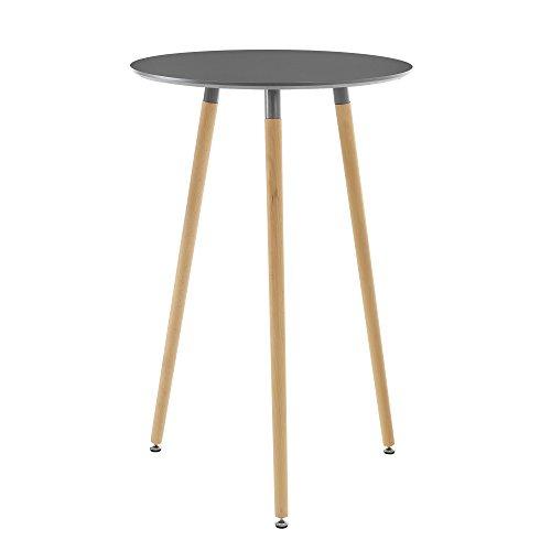 [en.casa] Runder Tisch Retro-Design Bartisch Dunkelgrau