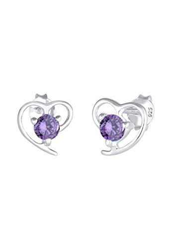 Elli Pendientes Mujer Motivo de Corazón Elegante con Cristales de Zirconia en Plata Esterlina 925