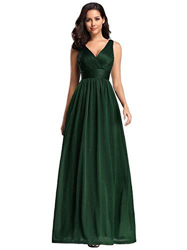 Ever-Pretty Robe de Soirée Col en V Taille Empire A-Line Élégante Longue Briller Femme Vert Foncé 50