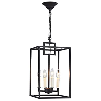 ANJIADENGSHI Lantern Pendant Light Industrial Vintage Lantern Iron Cage Hanging with 4 E12 Bulbs Lantern Chandelier for Traditional Dining Room Bar Cafe, Matte Black(Bulbs Not Included)