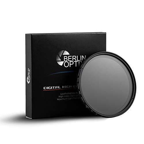 Berlin Optix Variabler ND Filter 46 mm ∙ ND2 400 Graufilter 46 mm ∙ Dämmt wirkungsvoll einfallendes Licht ∙ Perfekt für Landschaftsfotografie und Architektur Aufnahmen