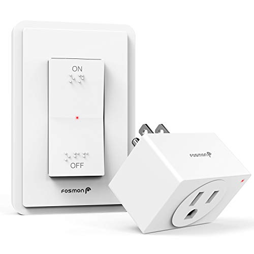 Fosmon Wireless Remote Control Electrical Outlet Switch- ETL Listed, (15A, 125V 1875W) Wireless Outlet Plug with Wall Switch & Braille (On/Off) Mark for Lights, Household Appliances, Expandable