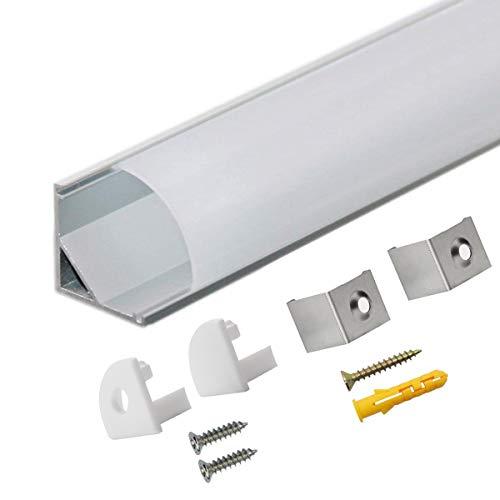 LED Aluminium Profil V 45° 10x1m, LED-Kanäle und Diffusoren mit Endkappen und Befestigungsclipsen für flexible LED-Lichtleisten von StarlandLed …