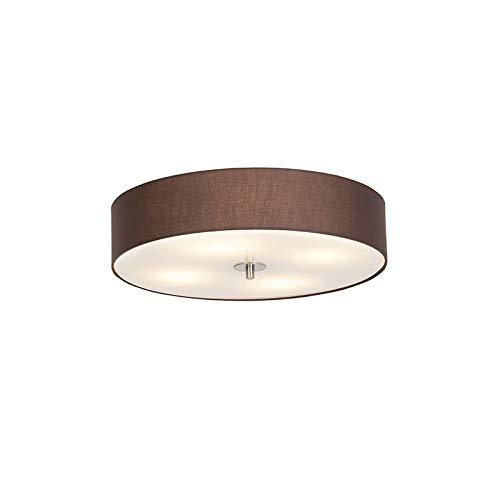 QAZQA Rústico Plafón country marrón 50 cm - Tambor Vidrio/Textil/Acero Redonda Adecuado para LED Max. 4 x 40 Watt