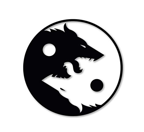 MADI Sticker Wolf Yin Yang Decal for Laptop Car Wall Window USA Stickers (4')