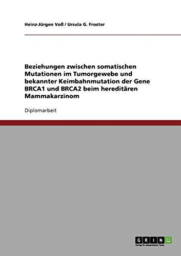 Beziehungen zwischen somatischen Mutationen im Tumorgewebe und bekannter Keimbahnmutation der Gene BRCA1 und BRCA2 beim hereditären Mammakarzinom