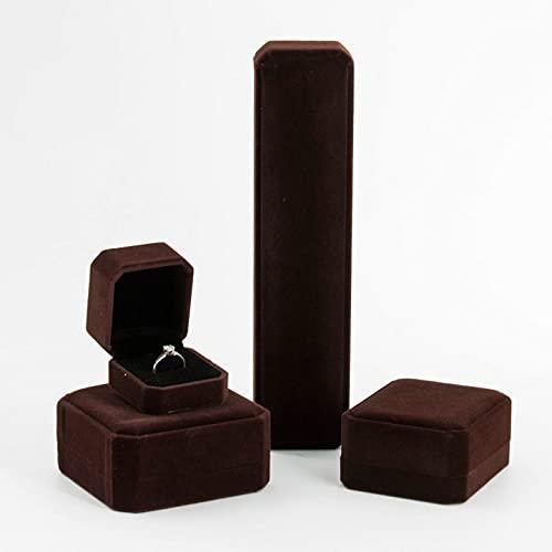 Caja de joyería pulsera anillo anillo terciopelo joyería almacenamiento colgante caja pendientes collar regalo-marrón,a