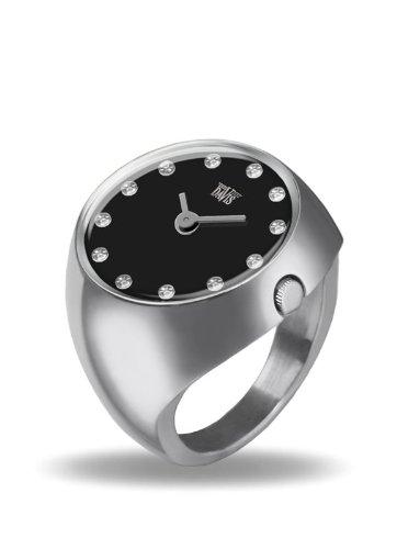 Davis 2010M-Reloj Anillo Mujer Acero Strass Cristal Swarovski Esfera Negra Cristal de Zafiro Talla 55