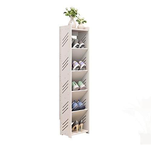 Shoe rack CWT Multi-capa hogar multifunción 6 capas, simple mini puerta zapatero estante de almacenamiento blanco estrecho